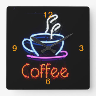 Neon Coffee Sign on Black Square Wall Clock