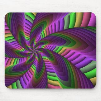 Neon Colors Flash Crazy Colorful Fractal Pattern Mouse Mat