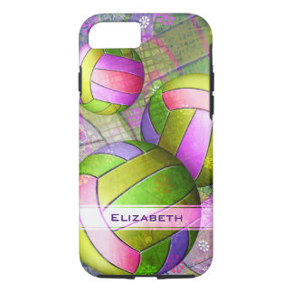 neon colors sporty girls' volleyball iPhone 8/7 case