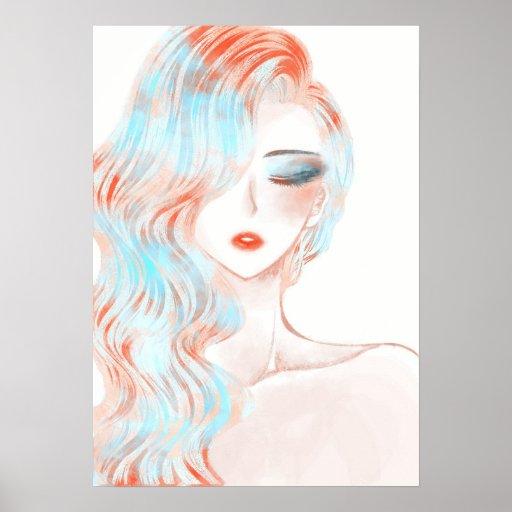 Neon coloured girl artwork poster