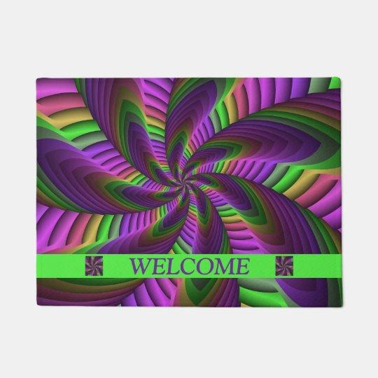 Neon Colours Flash Crazy Colourful Fractal Pattern Doormat