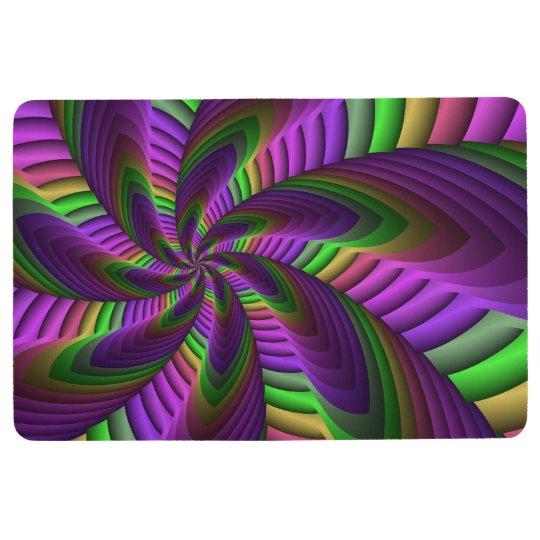 Neon Colours Flash Crazy Colourful Fractal Pattern Floor