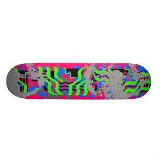 Neon Confetti Skull Skateboard