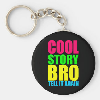 Neon Cool Story Bro Key Ring