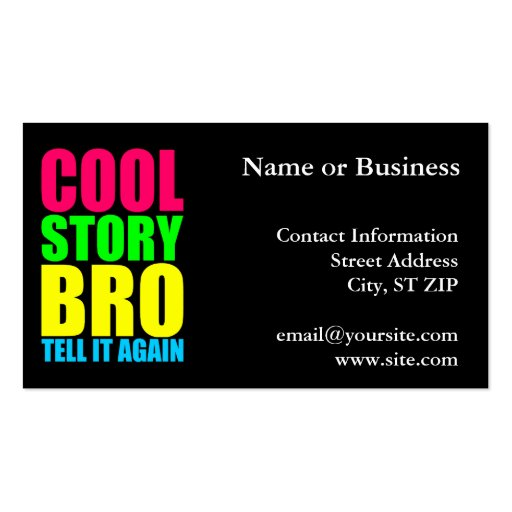 Neon Cool Story Bro Pack Of Standard Business Cards