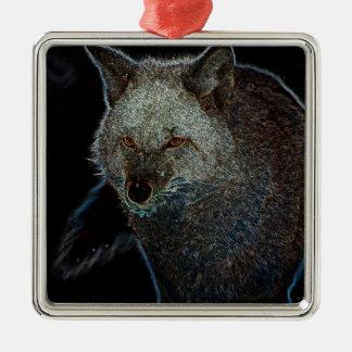 Neon Coyote Christmas Tree Ornament