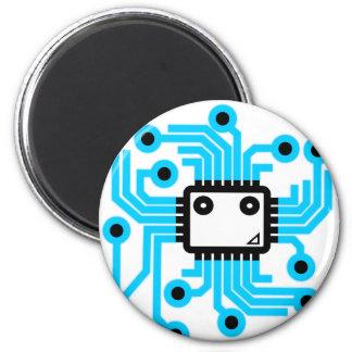 Neon CPU computer chip 6 Cm Round Magnet