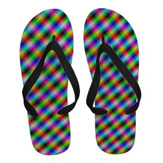 Neon Crosshatch Flip-Flops