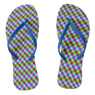 Neon Crosshatch small Flip Flops
