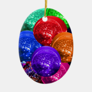 Neon Crystal Space Balls Double-Sided Oval Ceramic Christmas Ornament