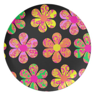 Neon Damask Flowers Party Plate