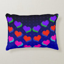 Neon Dark Hearts Retro Decorative Cushion