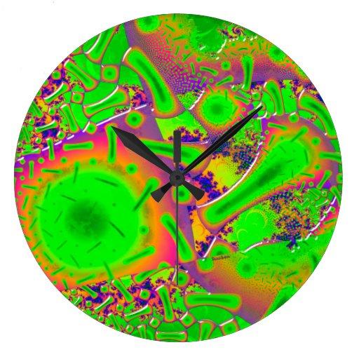neon dichroic psychedelic wallclock zazzle