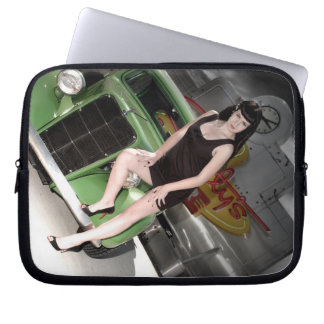 Neon Diner Hot Rod Betty Pin Up Girl Laptop Sleeve