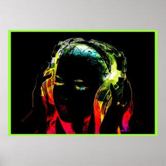 neon dj girl graphic poster