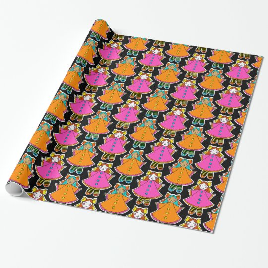 Neon dollies rag doll gift wrap wrapping paper