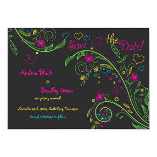 Neon Doodle Floral Wedding Save the Date 13 Cm X 18 Cm Invitation Card