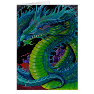 NEON DRAGON II by Lori Karels Greeting Cards