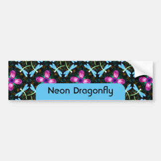 Neon Dragonflies Pink Flower Black Shimmer Pattern Bumper Sticker