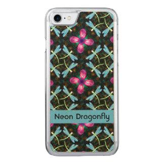 Neon Dragonflies Pink Flower Black Shimmer Pattern Carved iPhone 8/7 Case