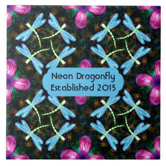 Neon Dragonflies Pink Flower Black Shimmer Pattern Large Square Tile