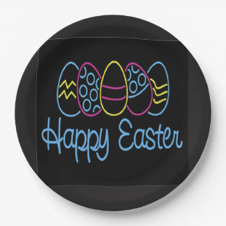 Neon Easter Easter Party Paper Plate