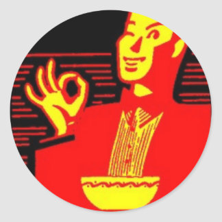 Neon Eating Man Round Sticker