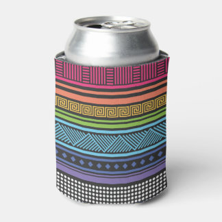 Neon Eighties Aztec Tribal Andes Pattern Can Cooler