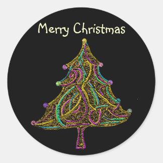 Neon Electric Christmas Tree Round Sticker