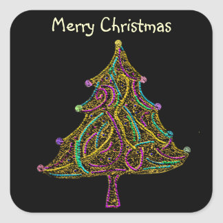 Neon Electric Christmas Tree Square Sticker
