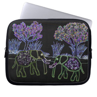 Neon Electric Elephants Laptop Sleeve
