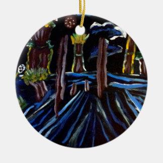 Neon Electric Trees Round Ceramic Decoration