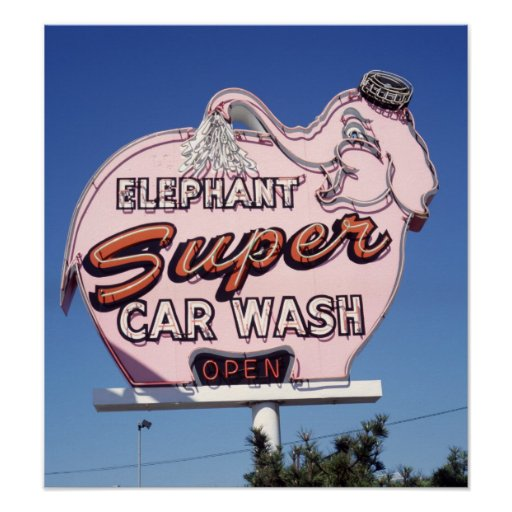 Neon Elephant Car Wash Sign Posters