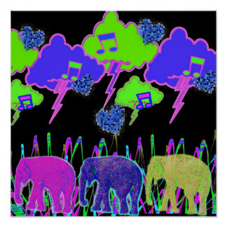 Neon Elephants Poster