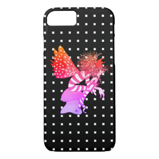 Neon Fairy Male Butterfly Geometric Square Black iPhone 8/7 Case