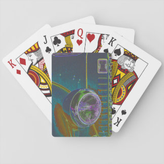 Neon Firetruck Design Playing Cards