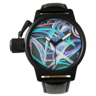 neon fish abstract art watch