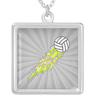 neon flames volleyball square pendant necklace