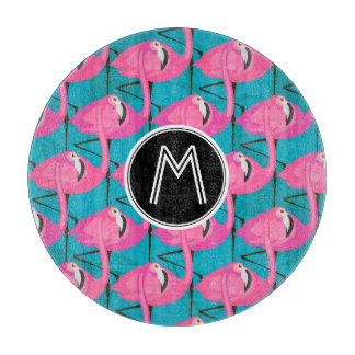 Neon Flamingos | Add Your Initial Cutting Board