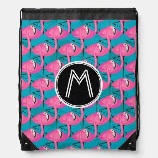 Neon Flamingos | Add Your Initial Drawstring Bag