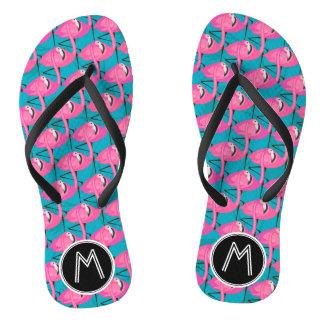 Neon Flamingos | Add Your Initial Flip Flops