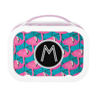 Neon Flamingos | Add Your Initial Lunch Box