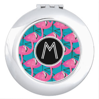 Neon Flamingos   Add Your Initial Makeup Mirror