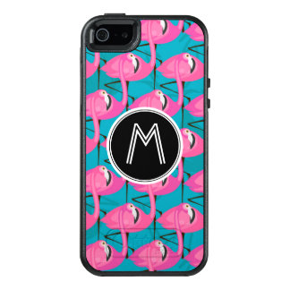 Neon Flamingos | Add Your Initial OtterBox iPhone 5/5s/SE Case