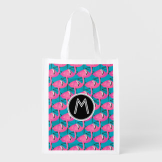 Neon Flamingos | Add Your Initial Reusable Grocery Bag