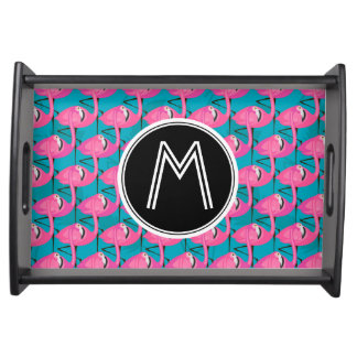 Neon Flamingos | Add Your Initial Serving Tray