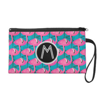 Neon Flamingos | Add Your Initial Wristlets