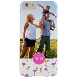 Neon Flamingos | Add Your Photo & Monogram Barely There iPhone 6 Plus Case