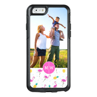 Neon Flamingos | Add Your Photo & Monogram OtterBox iPhone 6/6s Case