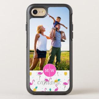 Neon Flamingos  Add Your Photo & Monogram OtterBox Symmetry iPhone 8/7 Case